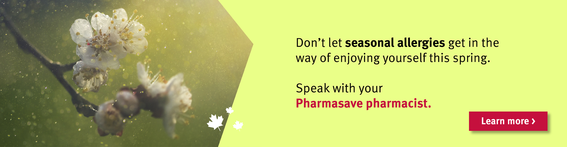 Speak with your Pharmasave pharmacist on how to deal with spring allergies.
