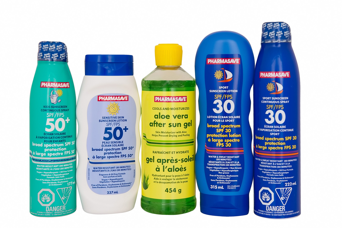 Pharmasave Sun Care products.